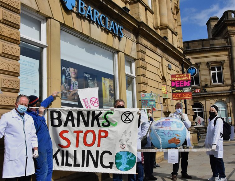 Protesters at the Barclays Bank office in Rochdale