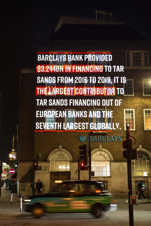 Barclays Bank provided $3.244BN in financing to tar sands from 2016 - 2019