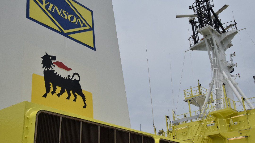 """Image: a floating gas unit owned by Eni, for the Offshore Cape Three Points project (OCTP). Analysis shows the project will only deliver an economic return if the Paris Agreement fails."""" Image credit: Eni"""