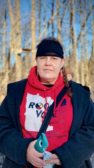 Image: Nancy Marie Beaulieu, a member of the Leech Lake Band of Ojibwe, at the Mississippi River, where HSBC-funded Enbridge are planning to build the Line 3 pipeline over the river. Image credit: Sarah LittleRedfeather, Honor the Earth