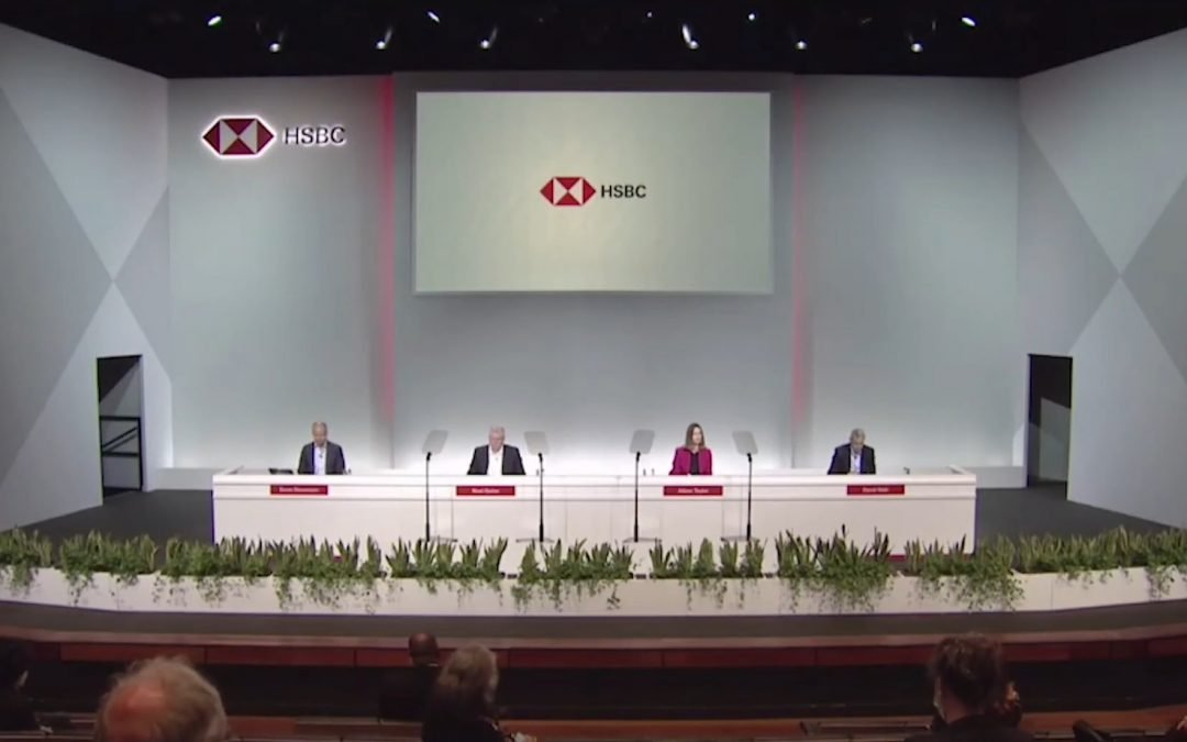 HSBC AGM 2021 – dodging questions and continuing climate destruction